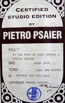 Andy Warhol and Pietro Psaier certificate