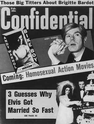 Andy Warhol on cover of Confidential magazine