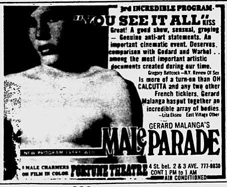 ad for Andy Warhol or Gerard Malanga's porn theater