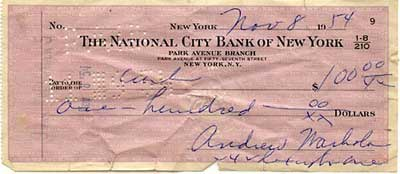 Andy Warhol cheque