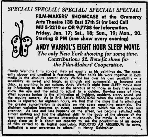 Andy Warhol Sleep ad