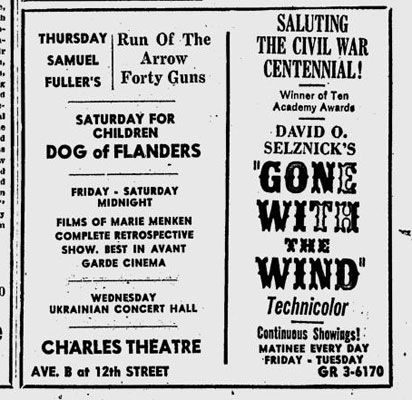 Ad for Charles Theatre