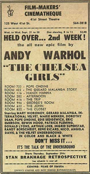 The Chelsea Girls at the Film-Makers Cinematheque
