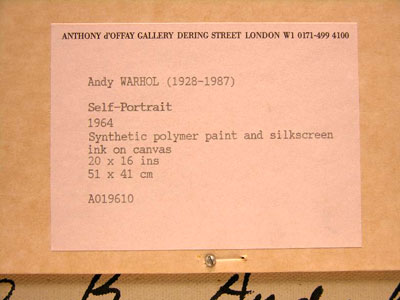 Label affixed to Bruno B Warhol Self Portrait owned by Anthony d'Offay