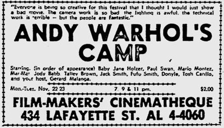 Ad for Andy Warhol's Camp at the Filmmakers' Cinematheque