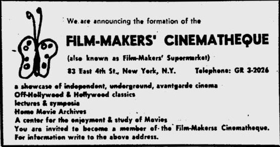 Film-Makers' Cinematheque first ad