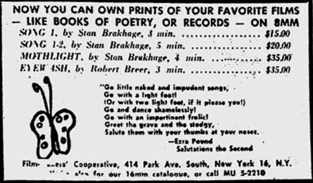 Ad for Stan Brakhage films in 8mm