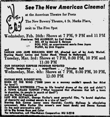 Flaming Creatures ad at the New Bowery for 3 March 1964 screening