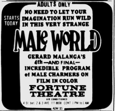 ad for Gerard Malanga's porn series at the Fortune Theater