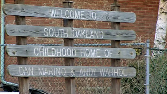 Welcome to Oakland - Home of Andy Warhol - sign