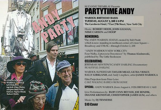 Partytime Andy Warhol flyer
