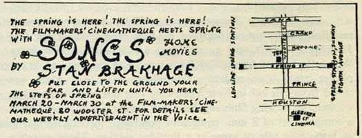 Songs of Stan Brakhage flyer