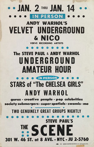 Velvet Underground and Nico at The Scene poster