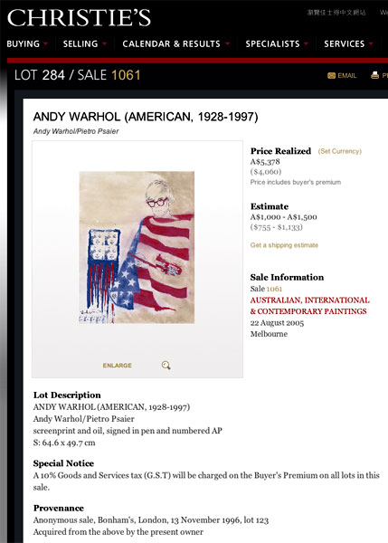 Andy Warhol and Pietro Psaier Christie's listing